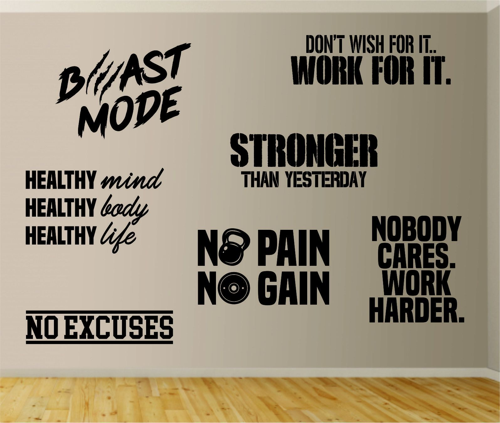 Gym Pack Set of 7 Designs Wall Decal Sticker Vinyl Art Wall Room Home Decor Quote Motivational Inspirational Fitness Health Lift Beast Train Exercise - teal
