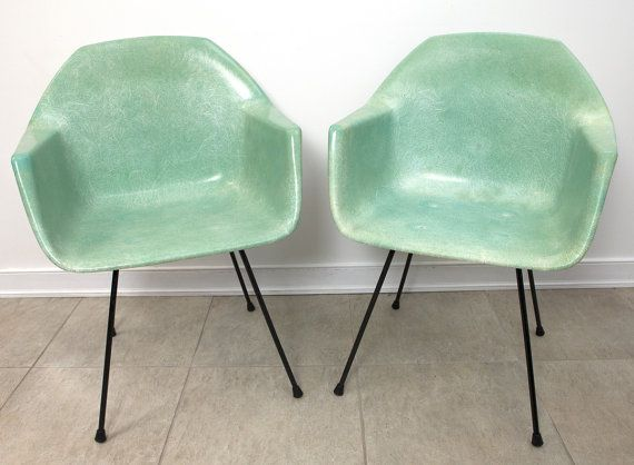 EAMES Herman Miller Style SEAFOAM Green Fiberglass Arm Chairs 2 Chair Set  Very RARE Chairs Gorgeous Color