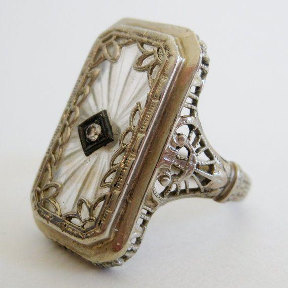 3904ceb0a44d Vintage Antique Art Deco Fine 14k White Gold by ParkBlvdEmporium ...