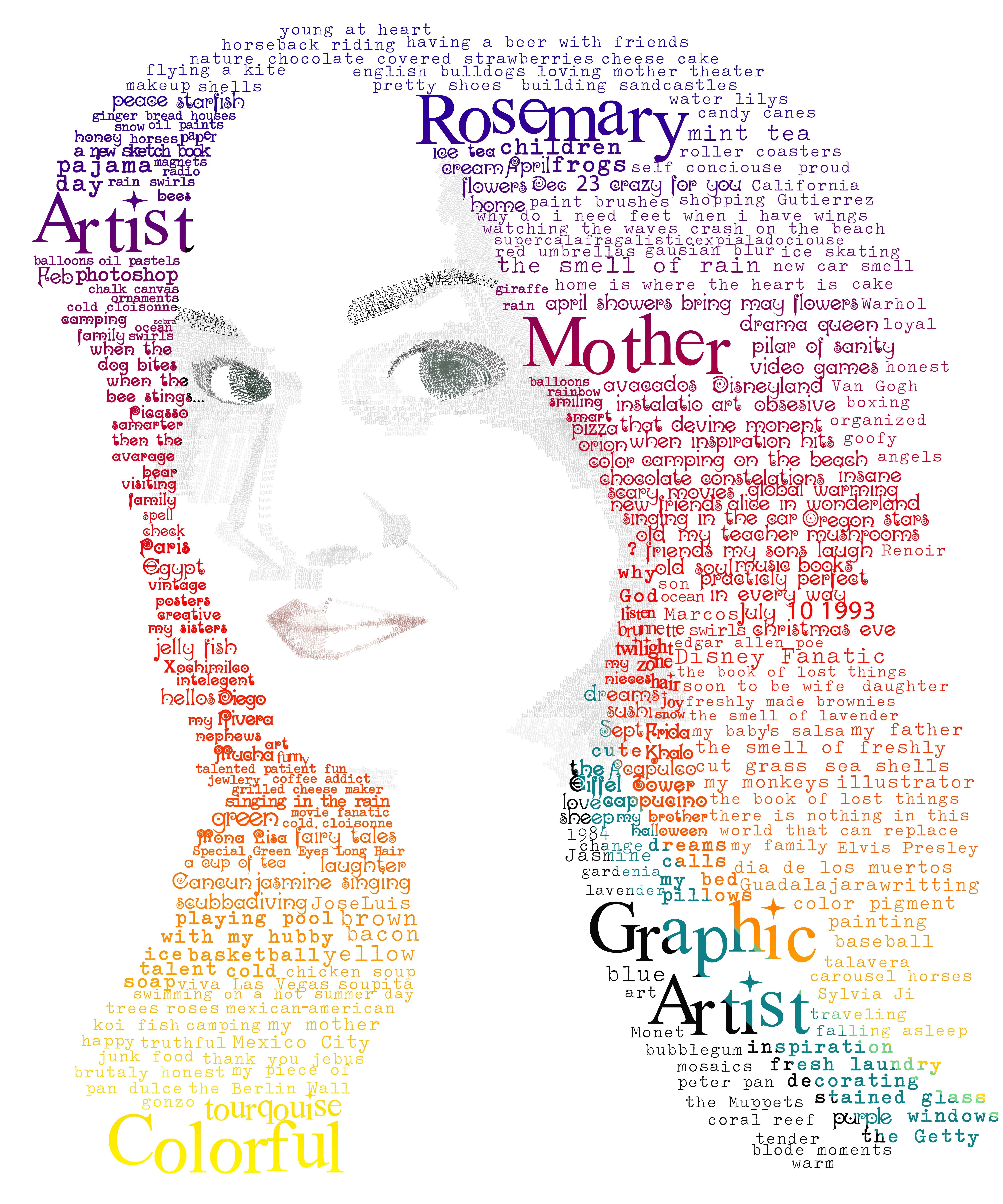 Self Portrait Typeography C Rosemary Gtz Typeography Body
