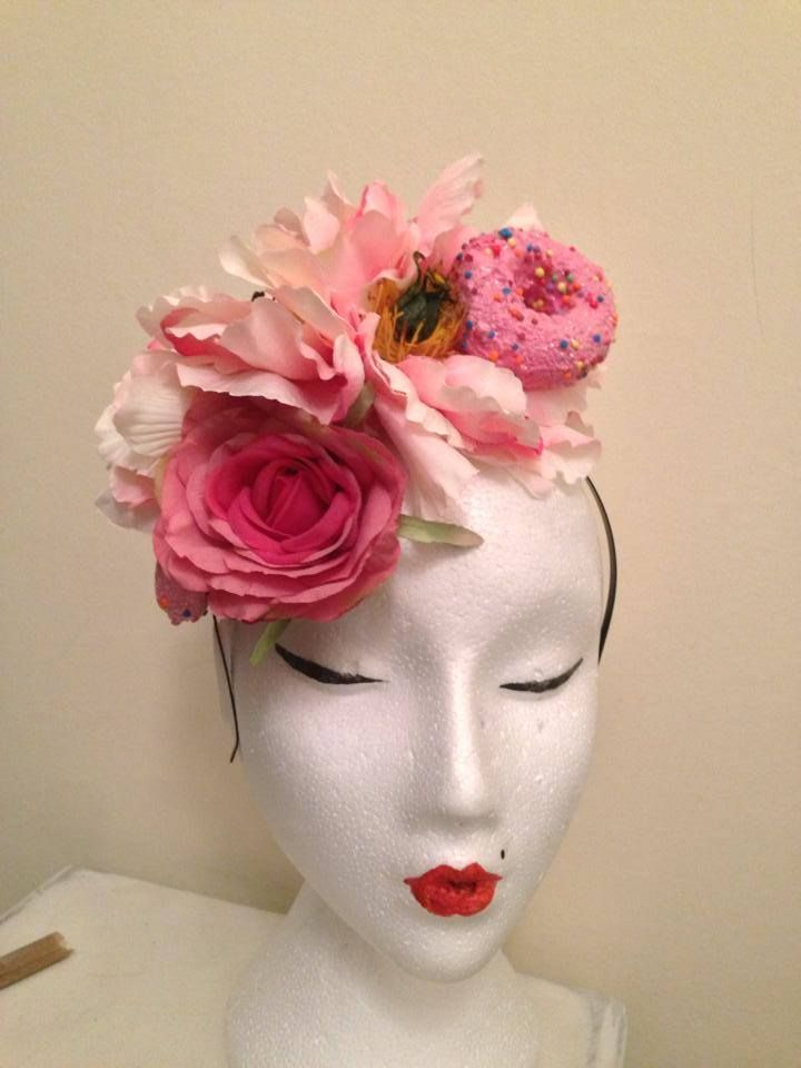 b20d9ce93f5 Pink lady flower headband with donuts :) #donut #doughnut #pink #fascinator  #headband #rockabilly #pinup #ascot #hat #quirky #surreal #unique