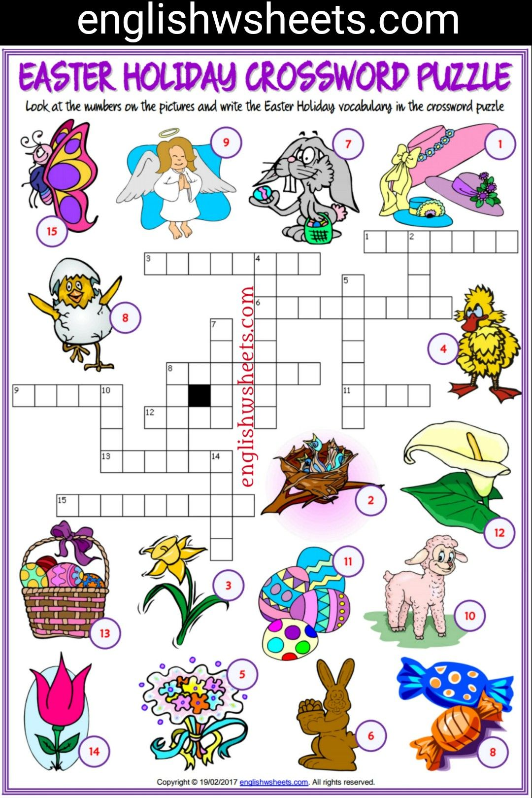 Easter Esl Printable Crossword Puzzle Worksheets For Kids