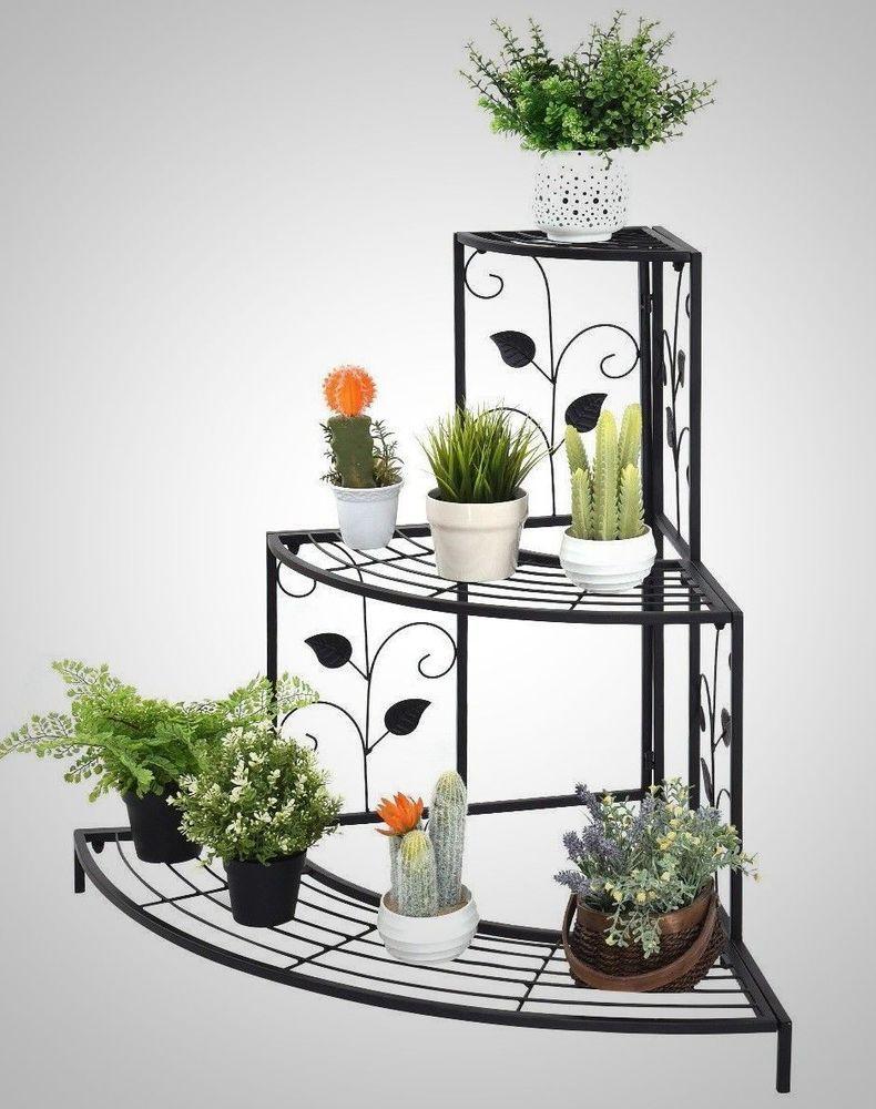 Plant Corner Shelf Flower Pot Metal Display 3 Tiers Stand Rack Outdoor Yard Deck Plantcornershelf Metal Flower Pots Corner Plant Plant Decor