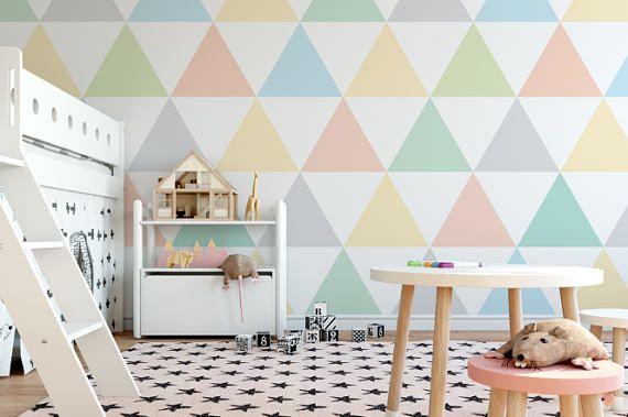 Pastel driehoeken Green perzik & grijs behang muur