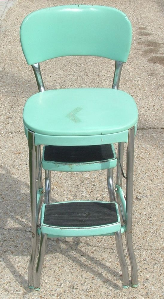 Htf true vintage cosco aqua blue vinyl kitchen fold down step stool ...