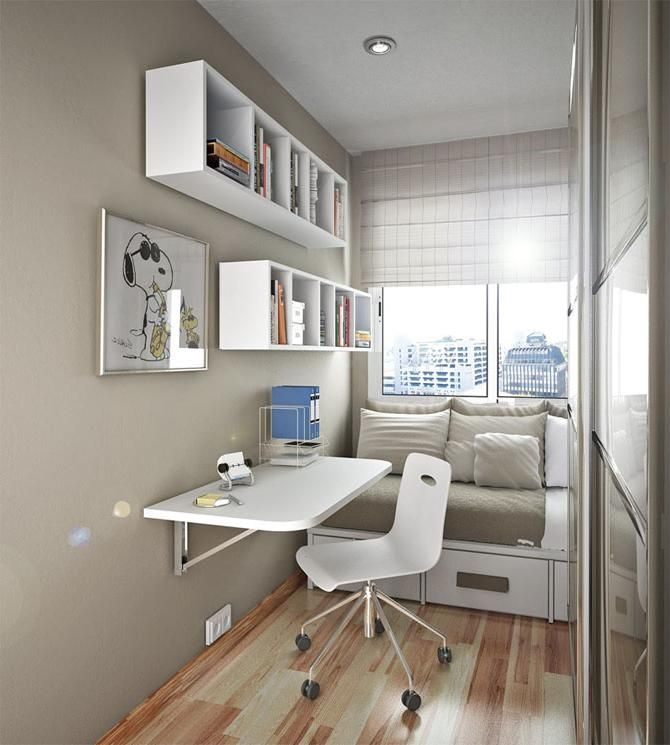 modern teenage bedroom design with beige color and white furniture set for small rooms use - Small Modern Teen Bedroom