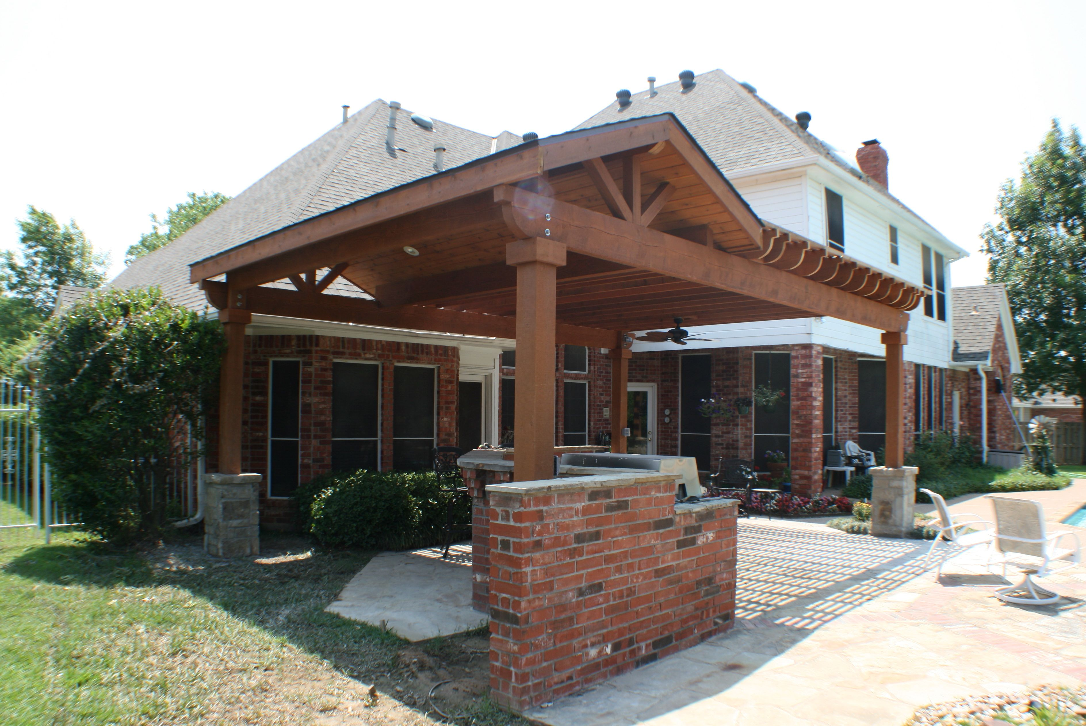 Attached covered patio ideas - Hip Roof Porch Plans Home Ideas Log