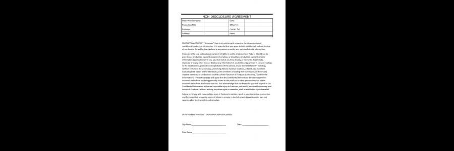 Film Non Disclosure Agreement Confidentiality agreement between - actor release form