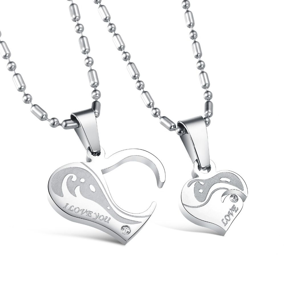Romantic charm l stainless steel heart pendant chain necklaces
