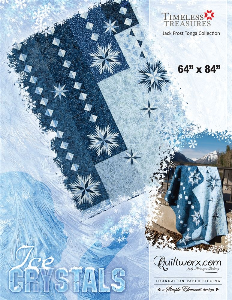 """Ice Crystals - Available from Quiltworx.com - A Judy Niemeyer Quilting Company. Shop for more patterns and quilting supplies on store.quiltworx.com. This pattern makes a 64"""" x 84"""" quilt, the pattern cost is $40.00."""