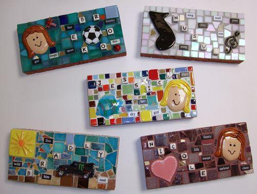 mosaics- doorstop/paperweights    made with used bricks  http://trashywench.blogspot.com/2011/09/brick-brac.html
