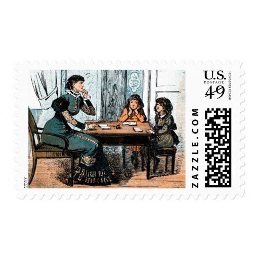 Teacher and Students. Vintage Art  Postage Stamps. Teacher Appreciation Day / Teacher Appreciation Week / Graduation / Thank You Teacher Postage Stamps with a vintage magazine illustration, circa 1880. Matching cards, postage stamps and other products available in the Business / Occupation Specific Category of the oldandclassic store at zazzle.com