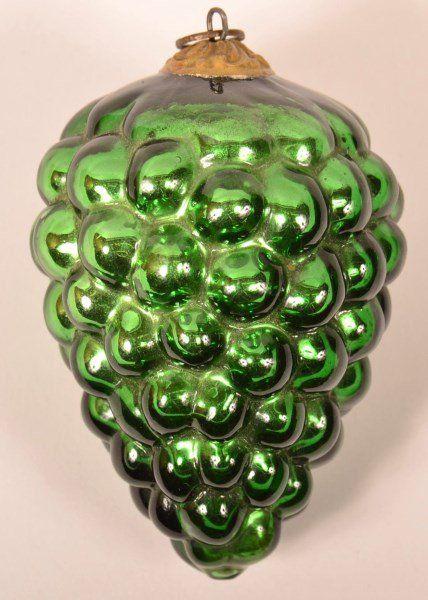 Green Cluster Of Grapes German Kugel Christmas Vintage Ornaments