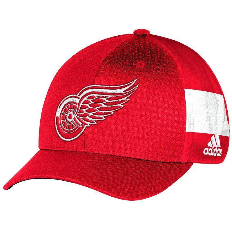 3d3e28e8121 Adult Adidas Detroit Red Wings NHL Draft Flex-Fit Cap