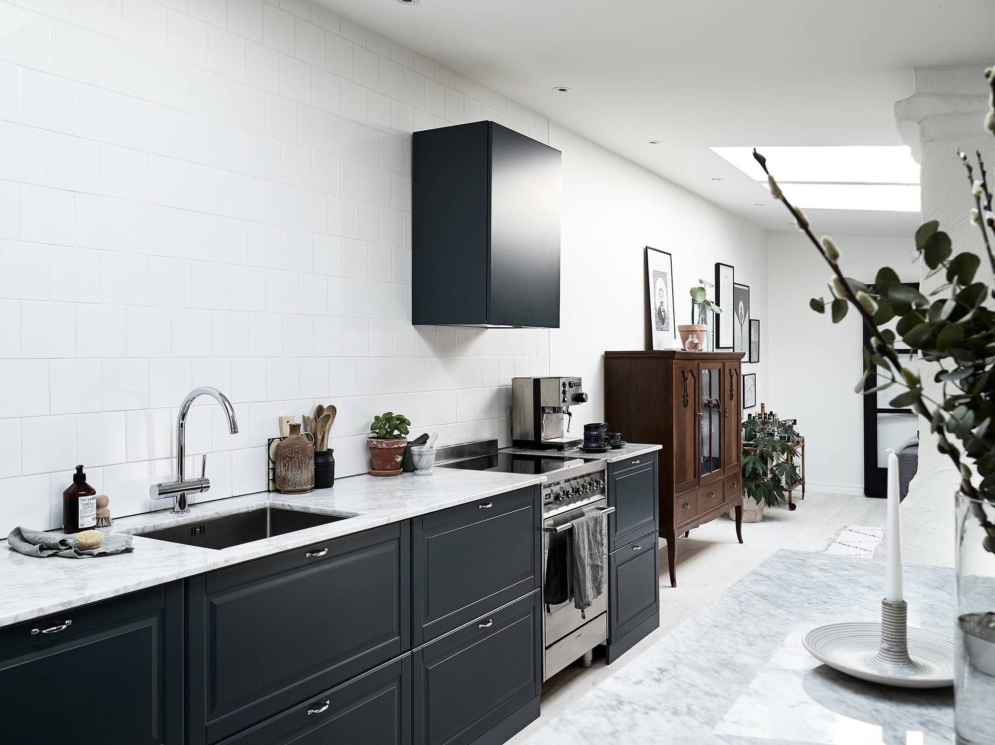 Petrol blue kitchen With images   Kitchen without wall ...