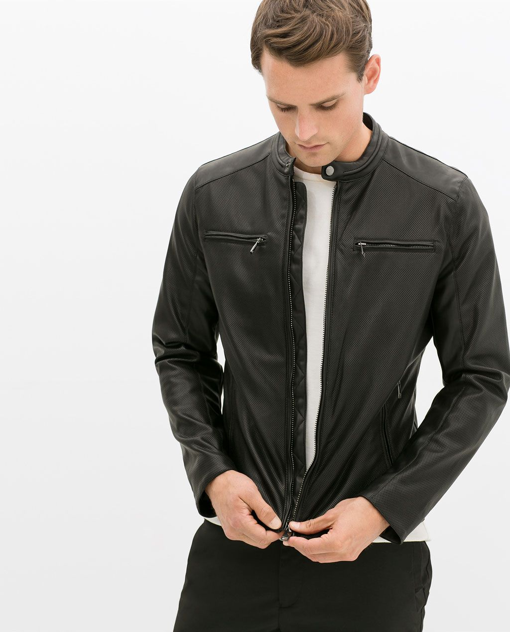 Zara Man Perforated Faux Leather Jacket My Fashion Taste In