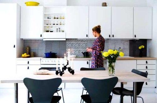 Cocina en blanco y negro con toques únicos #decoracion #cocina ...