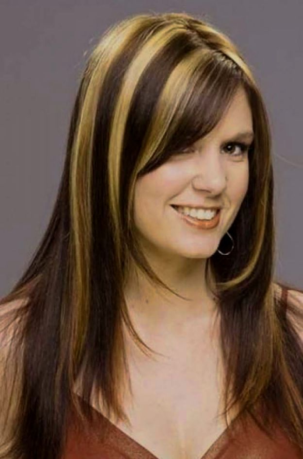 Medium Length Dark Brown Hair With Blonde Highlights