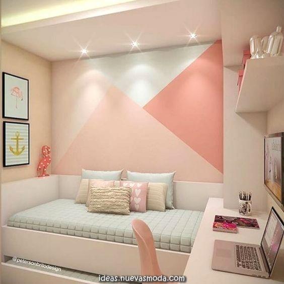 Elegante Paredes Geométricas En Los Dormitorios Para Niños Y Adolesc Decoracion De Paredes Dormitorio Decoración De Habitación Juvenil Decorar Pared Habitacion