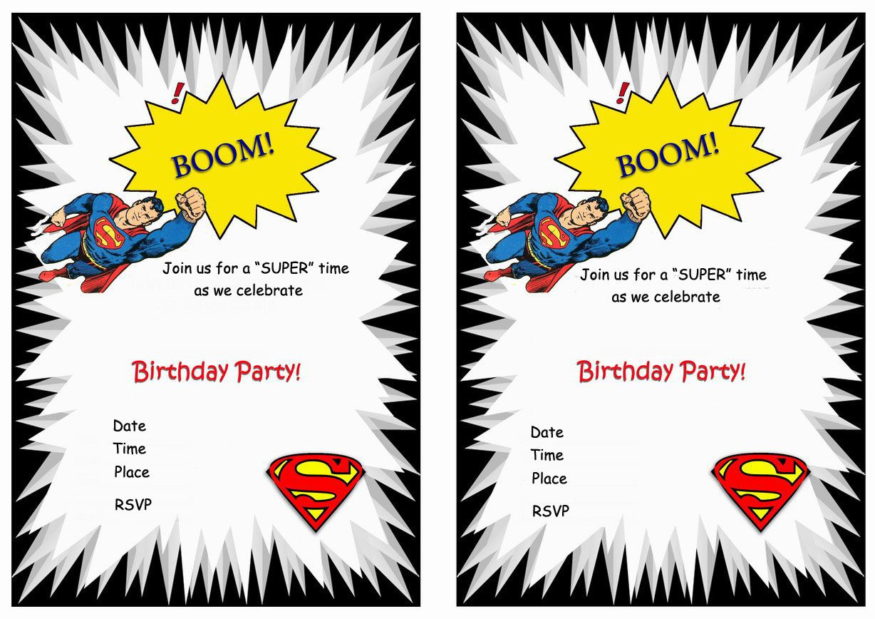 Superman FREE Printable Birthday Party Invitations
