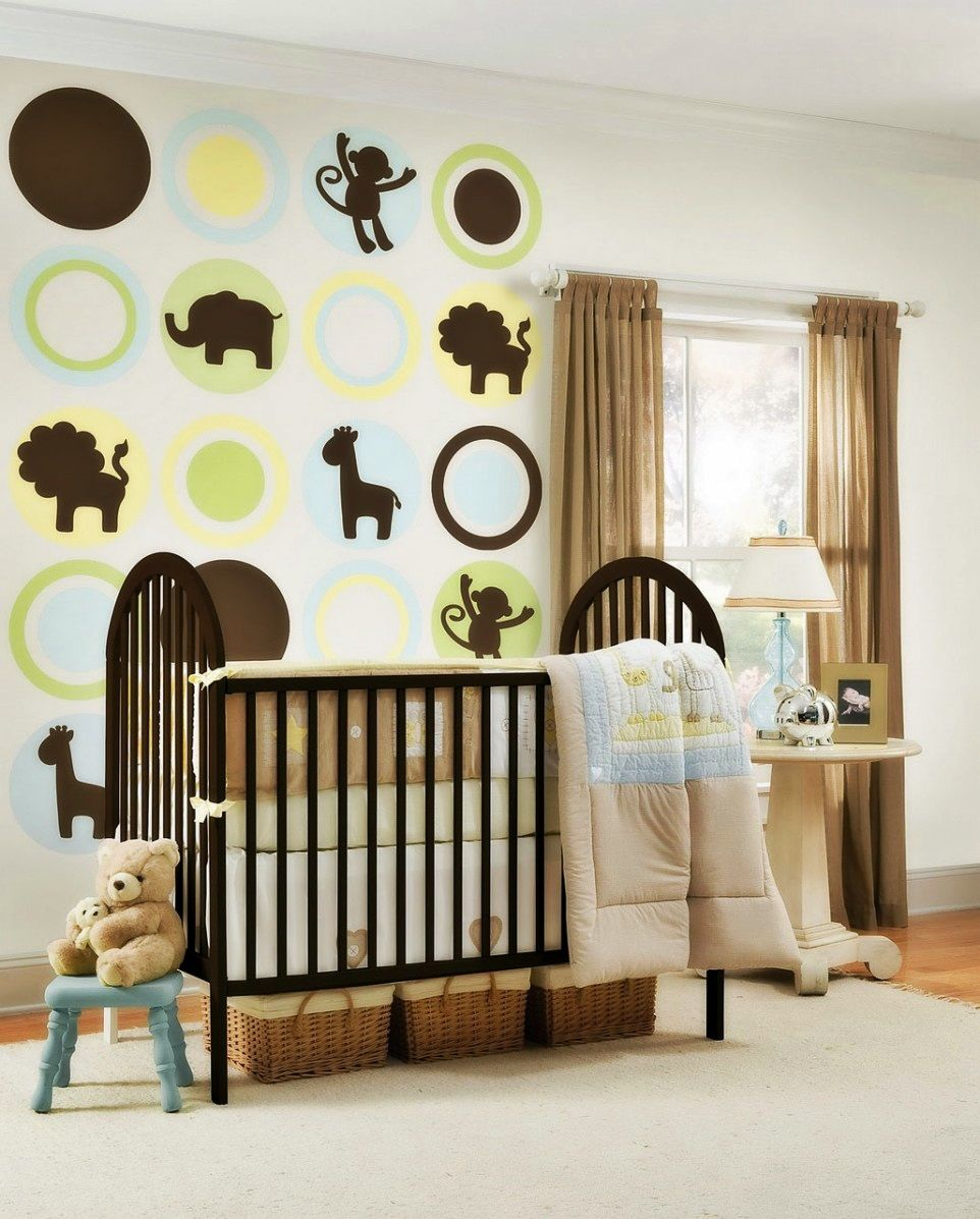Enchanting Animal Ornaments On Alluring Nursery Wall Art In Ious Room With Oak Crib