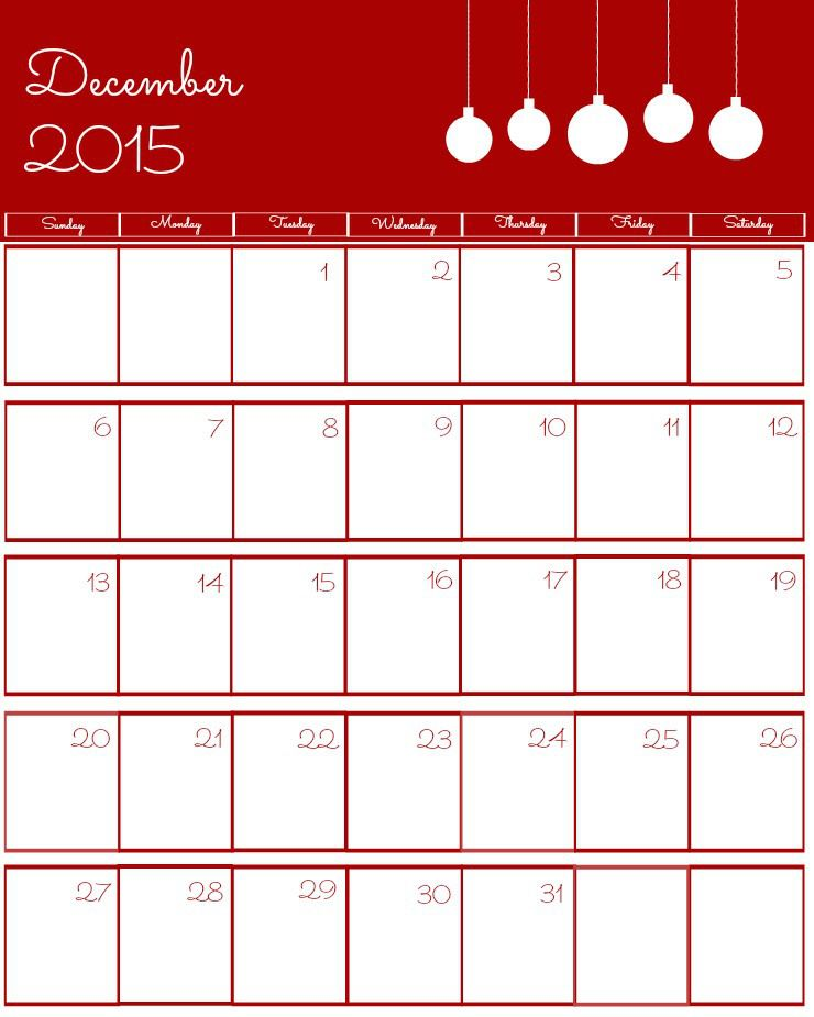 December 2015 Calendar Christmas Montly Calendar Pinterest
