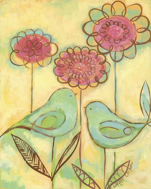 Green Love Birds Canvas Wall Art | Bird canvas, Bird and Canvases