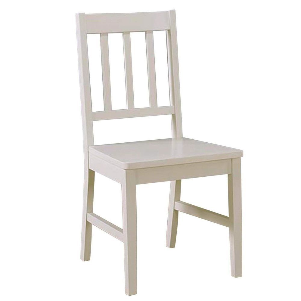 Wooden Dining Chair Off White Painted Finish Hardwood ...