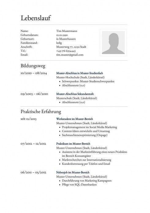 Lebenslauf Muster Vorlage 24 Anwalts-Assistent 1 | Bewerbung ...