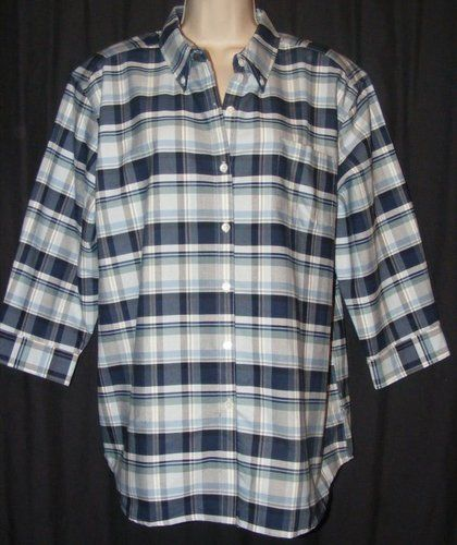Ordinaire $18.99 Cabin Creek Wrinkle Free Stain Release Blue Plaid 3/4 Sleeve Button  Front Top
