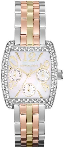 6caacec1f6d5 Michael Kors Midsize Trilogy Stainless Steel Emma Multifunction Glitz Watch  in Pink (null) - Lyst