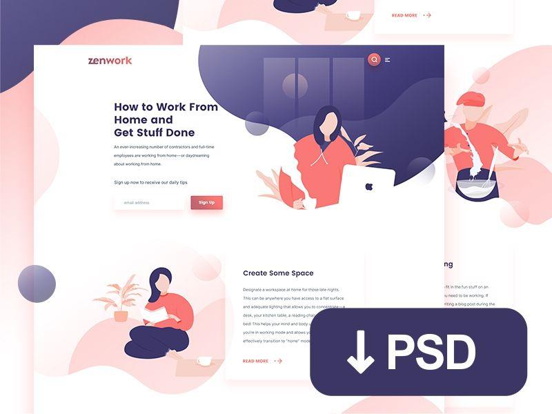 Psd Freebie Landing Page For Freelance Remote Jobs Site Job Website Web Design Remote Jobs