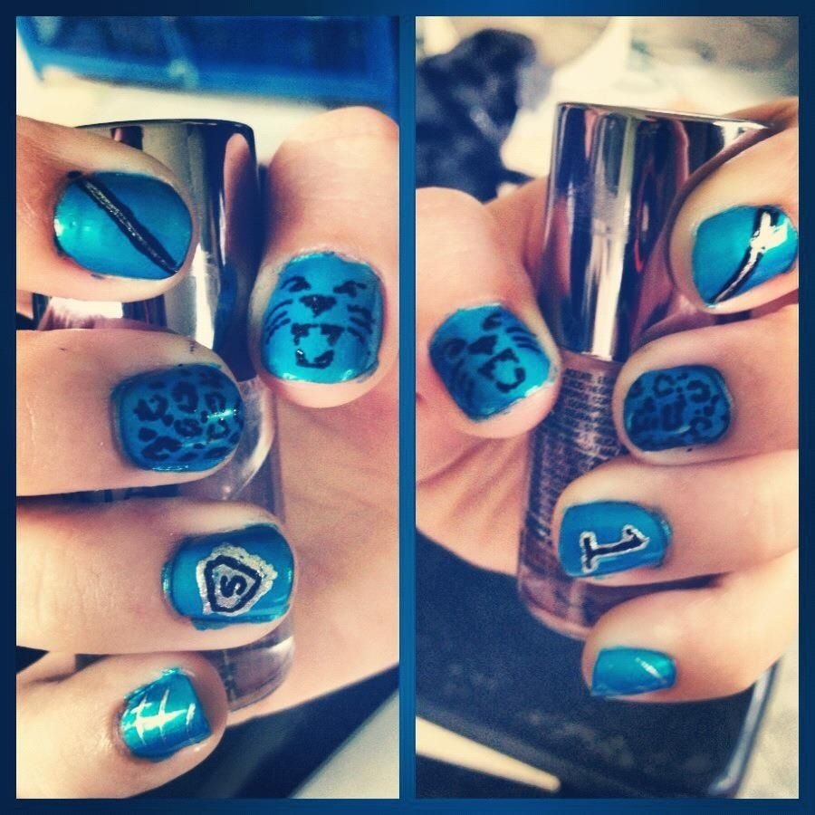 Carolina Panthers. Nail art. - Carolina Panthers. Nail Art. Fashion Pinterest Carolina