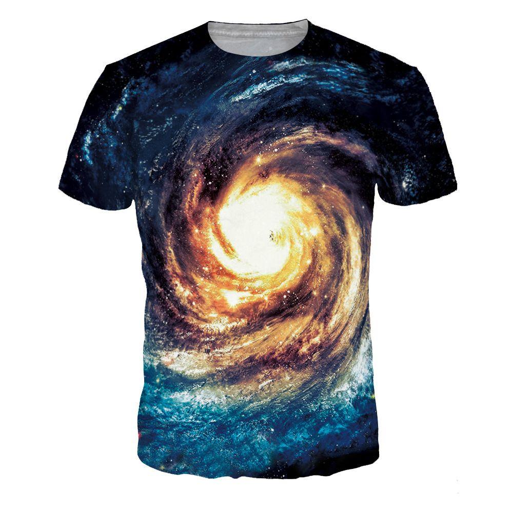 9532a39a498121 Barato Camisas de T dos homens 3D Espaço Galaxy camisa Dos Homens t ...
