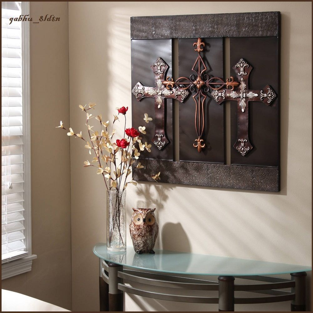 D wall art metal sculpture large bronze crosses elegant gorgeous
