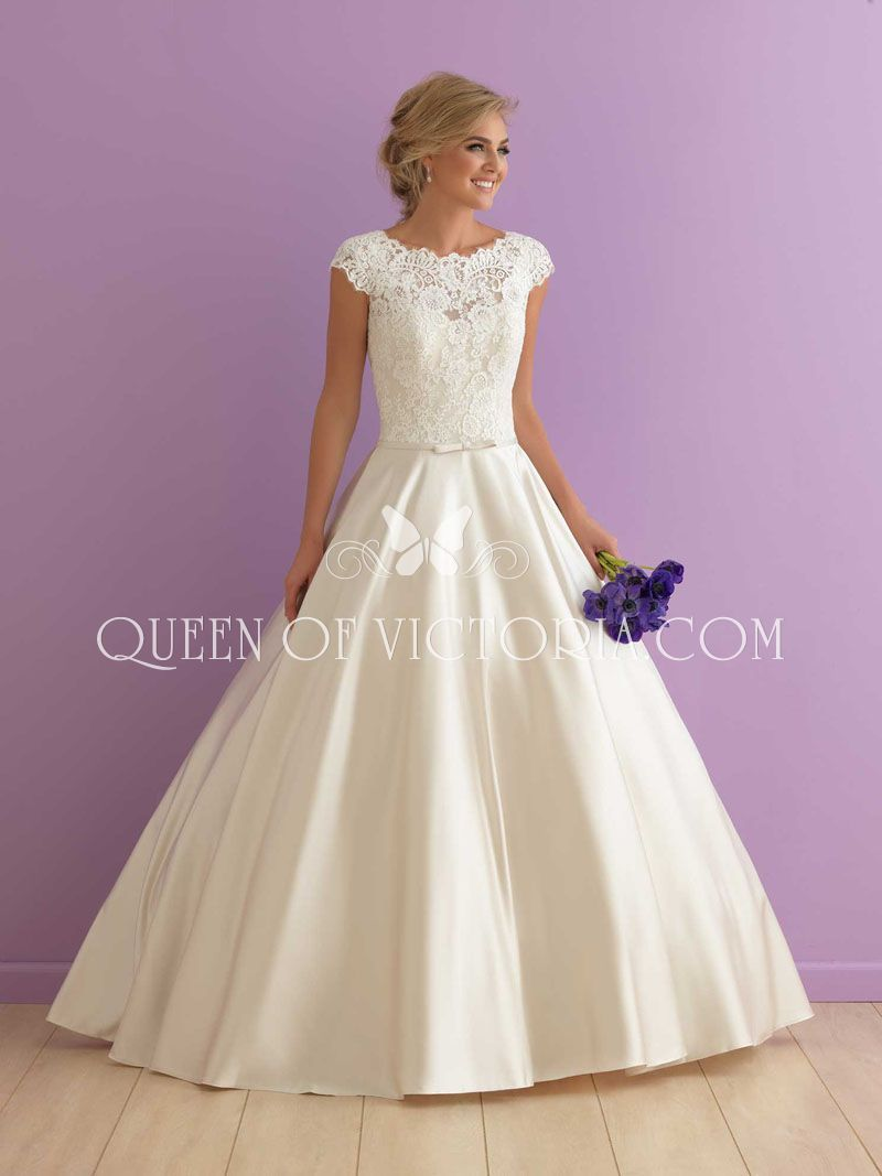 Fit For Royalty This Cap Sleeves Traditional Ballgown Wedding Dress Pairs Gorgeous Lace With Shimmering Satin