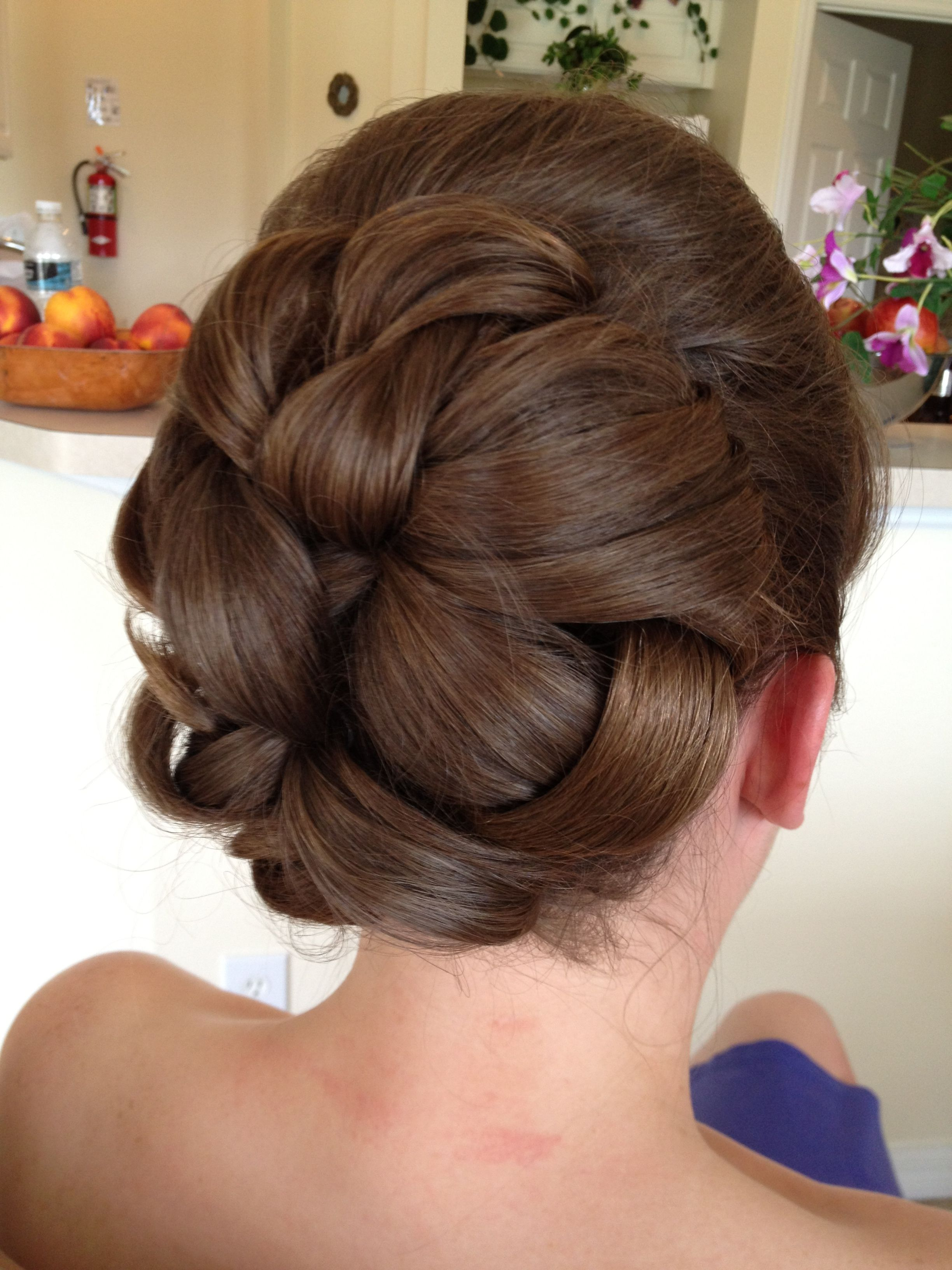 wedding hair - large barrel style curls in the back with a bump by