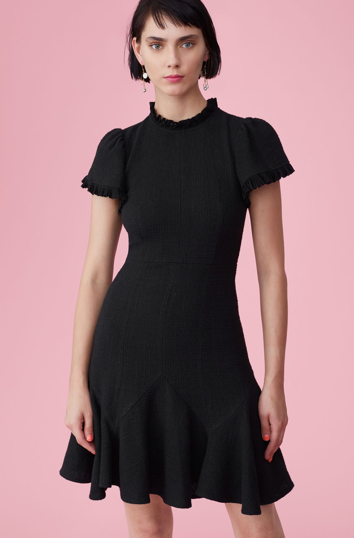 d96683adbfe7 Our Tweed Dress with Chiffon is a versatile, short-sleeve little black dress .