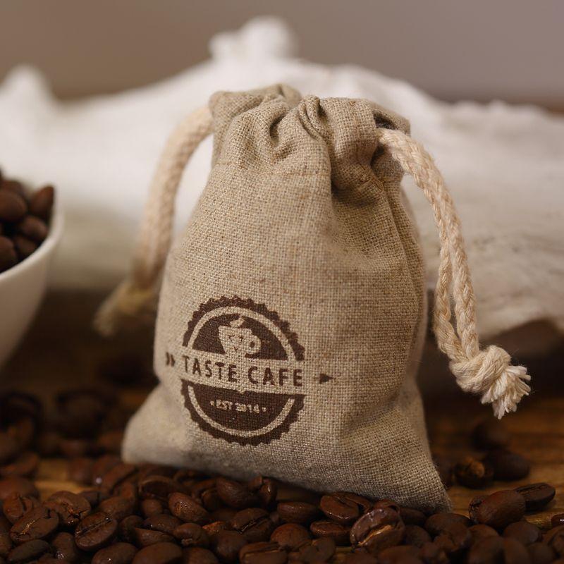 Logo linen hemp bags advertising bag tote coffee beans packaging ...