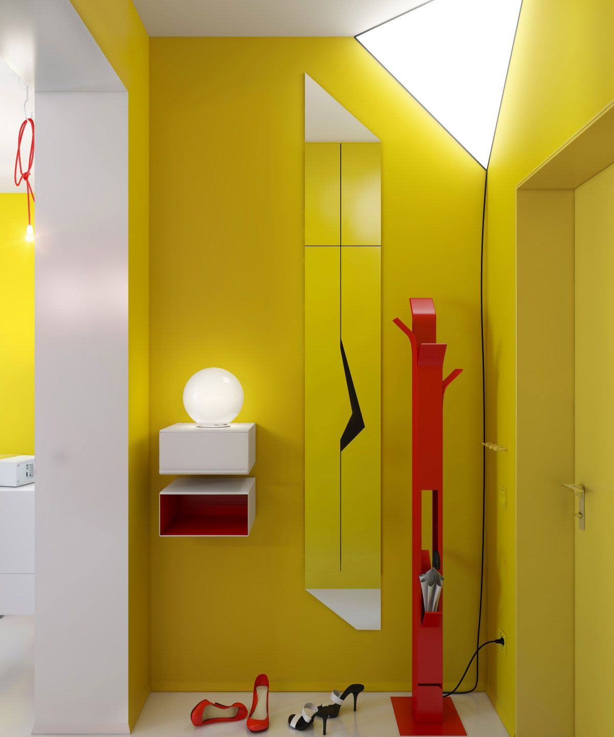 Hallway-and-Entryway-with-Yellow-Wall-Paint-Color-and-Red-Coat ...