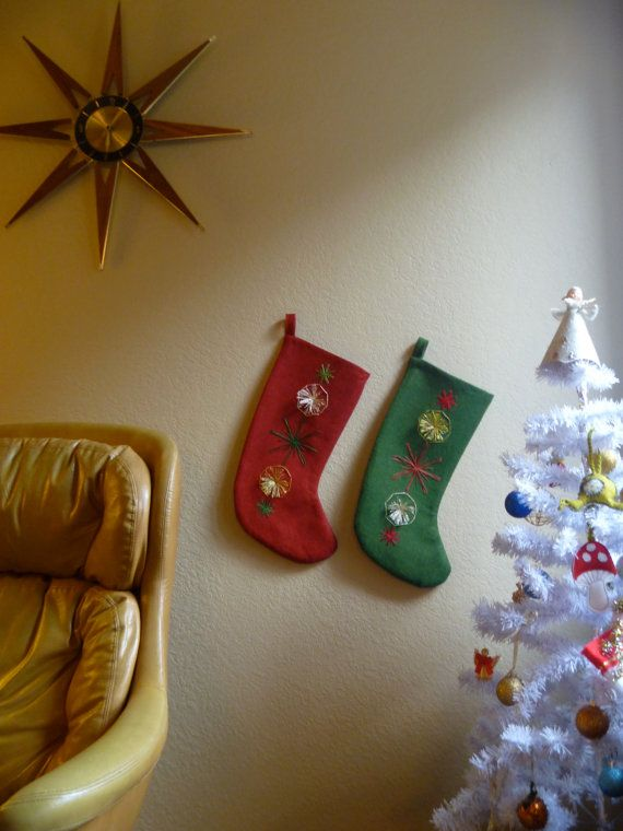 Star burst Christmas Stocking with pompoms by stussiluque on Etsy, $70.00