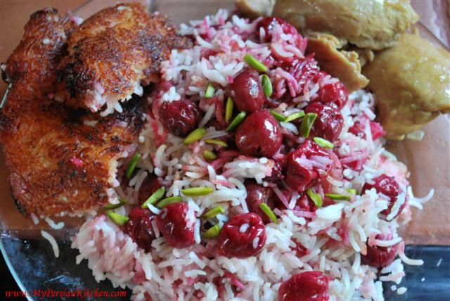Albaloo Polow -Persian Rice w/ Sour Cherries...it's like eating desert for dinner