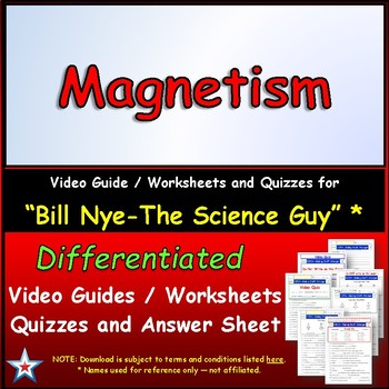 Video Guide, Quiz for Bill Nye - Magnetism * PRINTING ...