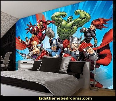 Superman Themed Bedroom marvel+avengers+assemble+2+comic+wallpaper+mural 404×353