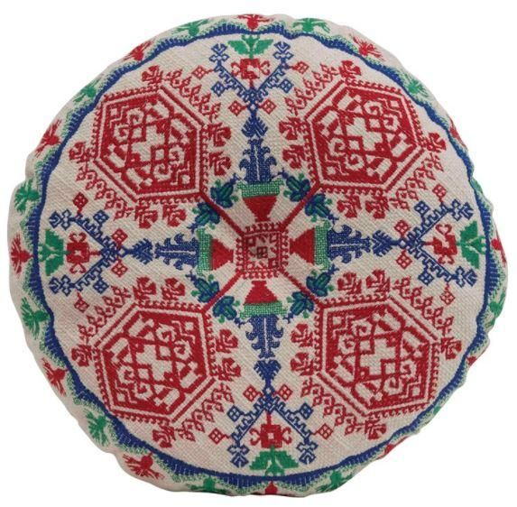 Cotton Embroidered Pillow, Multi Color - Default Title