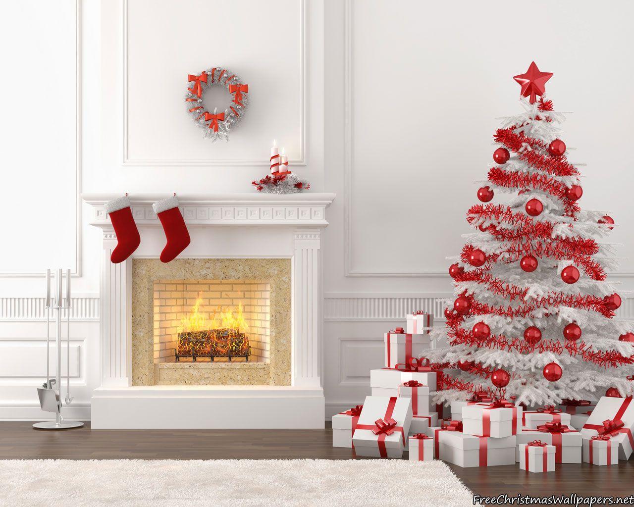 White Christmas Fireplace Christmas Fireplace Beautiful Christmas Christmas