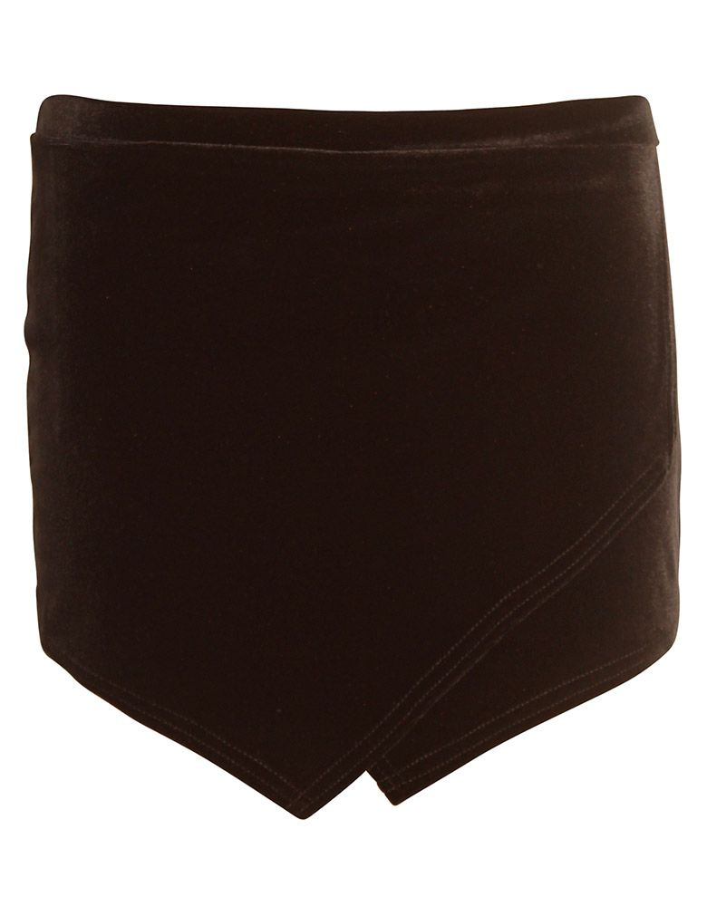 Velvet Asymmetric Skort in Black £ 7.95 #chiarafashion #black #velvet #asymmetric #skort