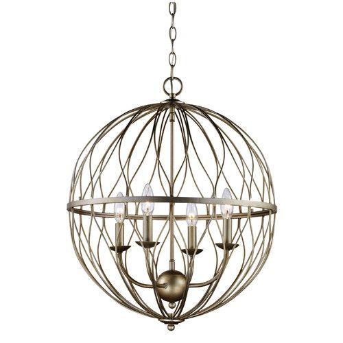 Hoover Industrial Pendant Light: Bernville 4-Light Globe Chandelier