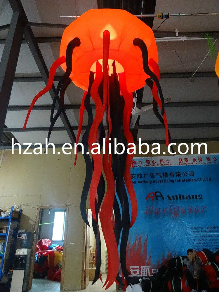 Orange Inflatable Jellyfish Balloon for Halloween Decoration - halloween inflatable decorations