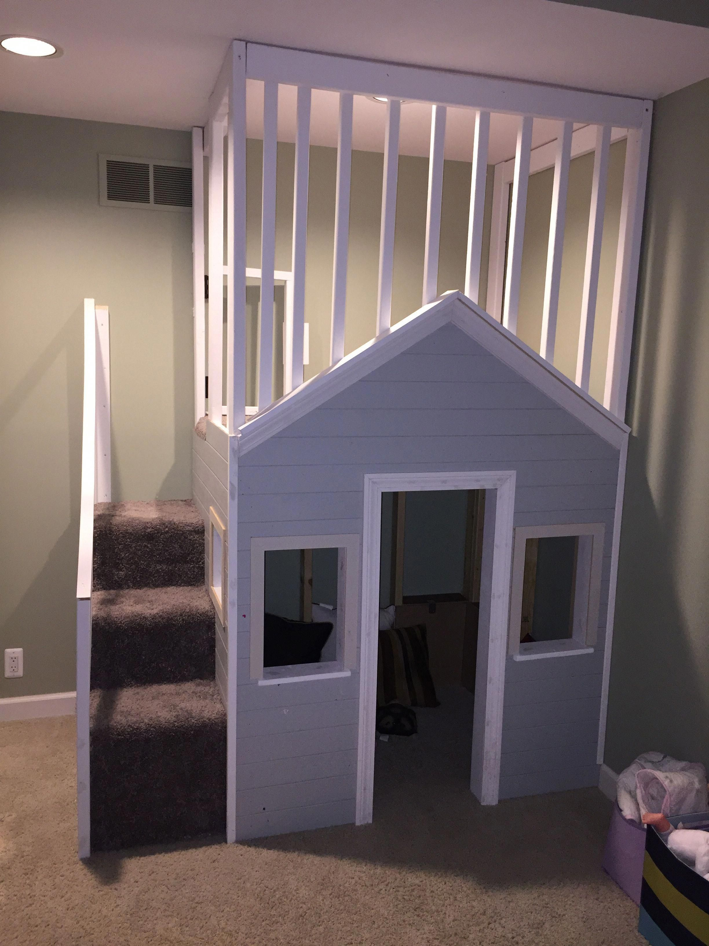 Loft bed with slide kmart  Playhouse buildplayhouses  Build Your Own Playhouse  Pinterest